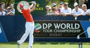 Rory McIlroy of Northern Ireland in action during the second round of the 2013 DP World Tour Championship on the Earth Course at the Jumeirah Golf Estates  in Dubai, United Arab Emirates. Photograph: Ross Kinnaird/Getty Images
