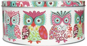 THREE OF A KIND . . . SMART STORAGE This Boho owl tea caddy tin, €17, is just one of several stylish options at Marks and Spencer (marksandspencer.ie). Check out the  robin motif tins and their  cool typography printed cake tins, €35 for a set of two.