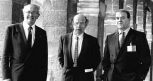 Him too: Paul McGuinness in 1991, when he was on the Arts Council, with Dr Colm Ó hEocha, its chairman, and Anthony Cronin, Charles Haughey's cultural adviser. Photograph: Paddy Whelan