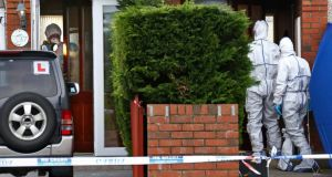 15/11/13 Members of the Garda Crime Scene Investigation Unit examine the two houses at the scene on Mourne Park, Skerries this morning where a grandfather was stabbed to death last night...tPicture Colin Keegan, Collins Dublin.