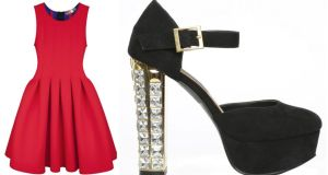 Red neoprene dress, €450 by MSGM at BT2; crystal heel Mary Janes, €24 by Limited Edition at Penneys