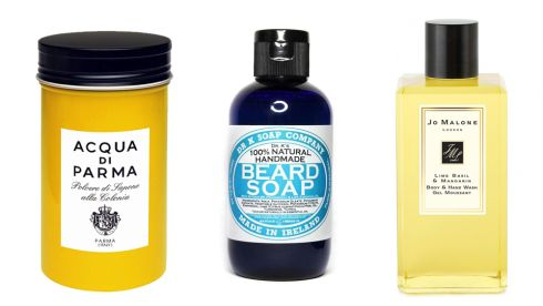 Powder Soap, €28, Acqua Di Parma at Arnotts. Beard soap, €13.95 (inc p&p), drsoap.com Lime Basil & Mandarin Body & Hand wash, €42, Jo Malone at Brown Thomas.