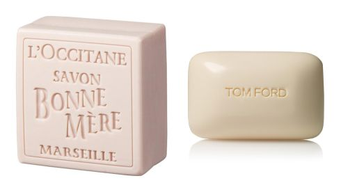 Rose Bonne Mere soap, €5, L'Occitane Neroli Portofino bath soap, €30.79, Tom Ford at Boots