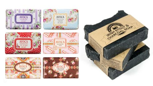 Selection of soaps, €5.50 each at Avoca. Irish stout and charcoal soap, 110g bar, €8.49, drsoap.com