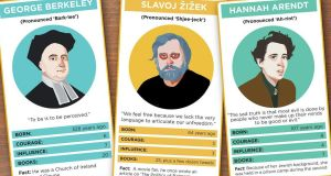 Collectable philosophers: cards for the thinking classroom. Illustration: Dearbhla Kelly/Irish Times Premedia