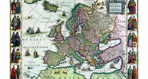 Europe at the centre: detail from a map by Willem Blaeu, a cartographer of the 16th and early 17th century.
