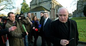 Bishop  Seamus Hegarty of Derry leaving  an extraordinary general meeting to discuss the Murphy report in Maynooth in 2010. Photograph: PA