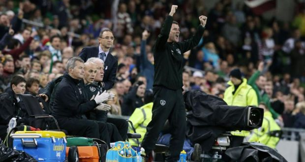 Republic of Ireland assistant manager Roy Keane celebrates a goal during the international friendly at the Aviva Stadium. Photograph: Niall Carson/PA.