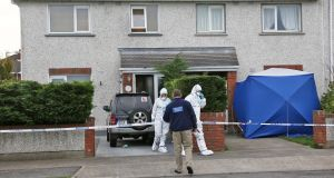 Members of the Garda Crime Scene Investigation Unit examine the two houses at the scene on Mourne Park, Skerries where Mr Gannon was stabbed. Photograph: Colin Keegan/Collins