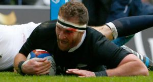 New Zealand's Kieran Read  scores  against England at Twickenham. Photograph: Eddie Keogh/Reuters