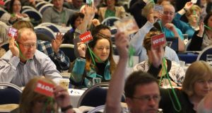 Memberso of Asti vote at the union's annual convention in Wexford last April. File Photograph: Patrick Browne