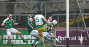 Glenswilly's Michael Murphy fires home his side's second goal against Roslea at Healy Park. Photo: Andrew Paton/Presseye/Inpho