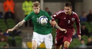 James McClean in action against  Latvia last Friday night.