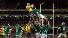 Devin Toner challenges Australia's Ben Mowen in a lineout during Ireland's 32-15 loss at the Aviva Stadium on Saturday. Photograph: Cathal McNaughton/Reuters.
