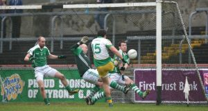 Glenswilly's Michael Murphy fires home his side's second goal against Roslea at Healy Park. Photograph: Andrew Paton/Presseye/Inpho