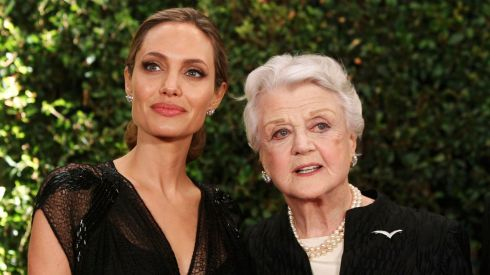 Angelina Jolie and Angela Lansbury pose at the Governors Awards. Lansbury received an Honorary Academy Award while Jolie took the Jean Hersholt Humanitarian Award.  Photograph: Fred Prouser/Reuters