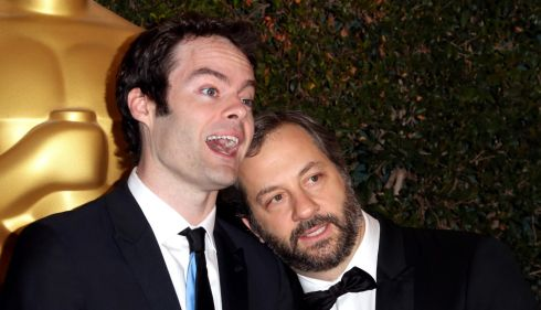 Actor Bill Hader and director Judd Apatow cosy up. Photograph: Frederick M Brown/Getty Images