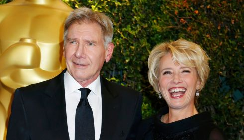 Who's yer wan? Harrison Ford gets the Emma Thompson treatment. Photograph: Fred Prouser/Reuters