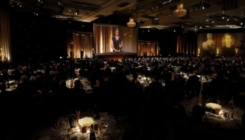 Away off in the far distance, that's Angelina Jolie taking her award in the Ray Dolby Ballroom in Hollywood. Photograph: Mario Anzuoni/Reuters
