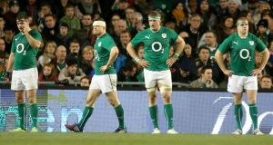 Ireland's Fergus McFadden, Brian O'Driscoll, Jamie Heaslip and Seán Cronin after Michael Hooper's second try for  Australia at the Aviva Stadium on Saturday.  Photograph: Dan Sheridan/Inpho
