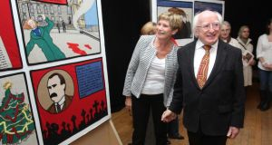 President Michael D Higgins launching a tapestry exhibition in Liberty Hall in Dublin yesterday. Photograph:  Stephen Collins/Collins Photos
