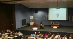 Conor Cusack spoke to students at University College Cork. Screengrab.