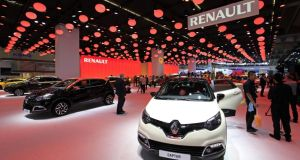 Renault Captur automobiles on display at the  Frankfurt International Motor Show  earlier this year. Renault sold 14 per cent more cars in Europe last month. Photo: Bloomberg