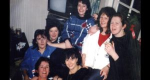 Majella Gallagher (front, centre) with her friends celebrating Christmas in the early 1990s: back, left to right:  Jean Fuller, Bridí McNerney, Ria Dunne, Helen McDonagh, Eimear Holmes; front left: Eleanor Ryan