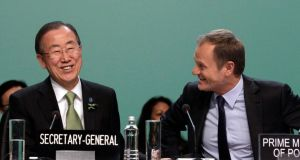 United Nations secretary general Ban Ki-moon and Polish prime minister Donald Tusk at the Convention on Climate Change COP19 conference in Warsaw yesterday. Photograph: Reuters