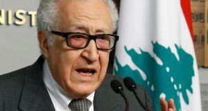 United Nations peace envoy for Syria Lakhdar Brahimi speaks during a news conference after meeting Lebanon's caretaker Prime Minister Najib Mikati at the Grand Serail, the government headquarters, in Beirut earlier this month.  Photograph: Mohamed Azakir / Reuters