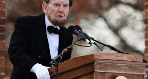 Portraying former US president Abraham Lincoln, James Getty recites the Gettysburg Address during a commemoration of its  150th anniversary at the Soldiers' National Cemetery in Gettysburg, Pennsylvania yesterday. Photograph: Patrick Smith/Getty Images