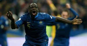 France's Mamadou Sakho reacts after Ukraine's Oleg Guslev (unseen) scored an own goal during their 2014 World Cup qualifying second leg play-off  at the Stade de France in Saint-Denis, Paris. Photograph: Benoit Tessier/Reuters