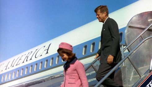Former US president John F. Kennedy and first lady Jacqueline Kennedy descend the stairs from Air Force One after arriving at Love Field in Dallas,Texas, on November 22nd, 1963. This Friday, November 22nd, 2013, will mark the 50th anniversary of the assassination of President Kennedy. Photograph: Cecil Stoughton/The White House/John F. Kennedy Presidential Library/Reuters