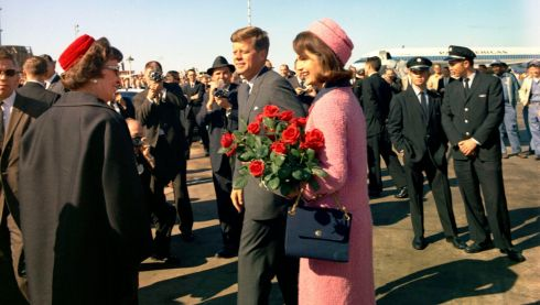 The Kennedys are greeted at the airfield in Dallas on November 22nd, 1963. Photograph: Cecil Stoughton/The White House/John F. Kennedy Presidential Library/Reuters