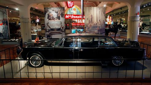The 1961 Lincoln Continental presidential limousine in which former US president John F. Kennedy was assassinated is displayed at the Henry Ford Museum in Dearborn, Michigan on November 1st this year. Photograph: Joshua Lott/Reuters