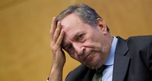 "Lawrence ""Larry"" Summers, former U.S. treasury secretary, listens at a panel discussion during the Jacques Polak Annual Research Conference at the International Monetary Fund (IMF) in Washington. Photograph: Andrew Harrer/Bloomberg"