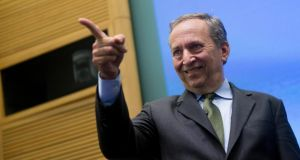 Lawrence  Summers, former US treasury secretary, gestures as he arrives to a panel discussion  at the International Monetary Fund (IMF) in Washington, DC. Photograph: Andrew Harrer/Bloomberg
