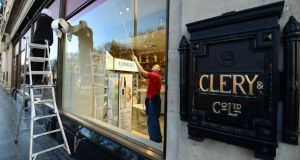 Preparations under way for the reopening of Clerys department store today. Photograph: Frank Miller / The Irish Times