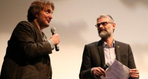 Dylan Moran with the Cork Film Festival's Creative Director James Mullighan