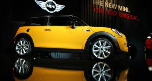 The new Mini on display at the LA show. It featured on either side of the Pacific.