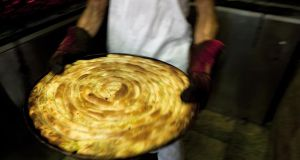 Burek pastry dough filled with beef at Buregdzinica Bosna