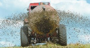 Nitrogen rich: spreading slurry. Photograph: Getty Images