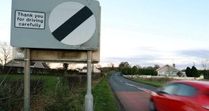 File photograph of a national speed limit sign in Northern Ireland. Photograph: Paul Faith/PA Wire