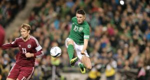 Republic of Ireland striker Robbie Keane in action against Latvia last week.  Photograph: Morgan Treacy/Inpho