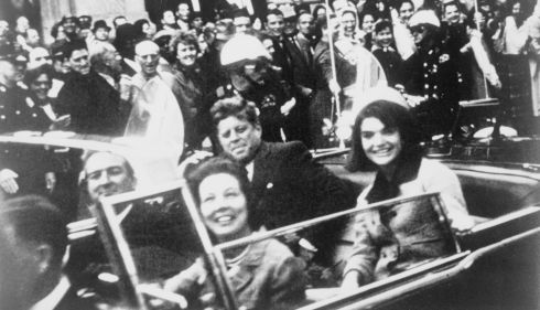 JFK with first lady Jackie Kennedy and then Texas governor John Connally (front) with his wife in the presidential motorcade moments before the US president was shot in Dallas, Texas, on November 22nd, 1963. Photograph: Victor Hugo King/Library of Congress/Reuters