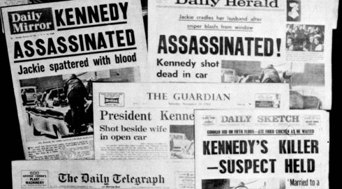 This photo from November 22nd, 1963, shows the front pages of seven British national daily newspapers in London headlining the assassination of JFK. Photograph: AP Photo