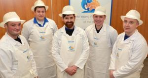 Finalists in the BIM Young Fishmonger of the Year Award, from left: Arnaud Lepricey, Wrights of Howth, Dublin; James Kirwan, East Coast Seafood, Naas, Co Kildare; John Feeney, Galway Bay Seafoods, New Docks, Galway; George Stephens, Stephens's Fish Market, Mullingar, Co Westmeath and Maynooth, Co Kildare and Graham Rogerson, George's Fish Shop, Monkstown Farm, Co Dublin. Photograph:  John Sheehan Photography