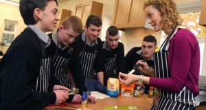 Home economics teacher Sarah Varden with a group of students at Garbally College, Ballinasloe, Co Galway. Photograph: Joe O'Shaughnessy