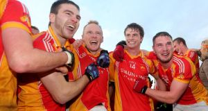 Castlebar Mitchels players Gerard McDonagh, Tom King, Neil Douglas and Fergal Durcan celebrate their Mayo SFC victory over Breaffy at MacHale Park, Castlebar, last month. Photograph: James Crombie/Inpho