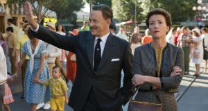 'Walt Disney had wanted to adapt the book from as early as 1944, however, it was not until 1961 that Travers finally released the film rights'. Above, Walt Disney (Tom Hanks) shows Disneyland to Mary Poppins author PL Travers (Emma Thompson) in Disney's Saving Mr Banks. Photograph: Disney Enterprises